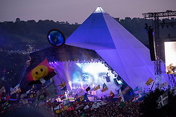 View of the Pyramid Stage during the Killers headline set on day 4 of Glastonbury 2019, Worthy Farm, Pilton, Somerset. Picture date: Saturday 29th June 2019.  Photo credit should read:  David Jensen/EmpicsEntertainment