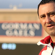 USC Head Football Coach Steve Sarkisian visits his future team at Bishop Gorman High School in Summerlin, Las Vegas, Nevada.  The USC Trojans practiced for the second day at Bishop Gorman High School in preparation for the Royal Purple Las Vegas Bowl to be held 12/21/13.  11/19/13, 4 pm, Photo by Barry Markowitz