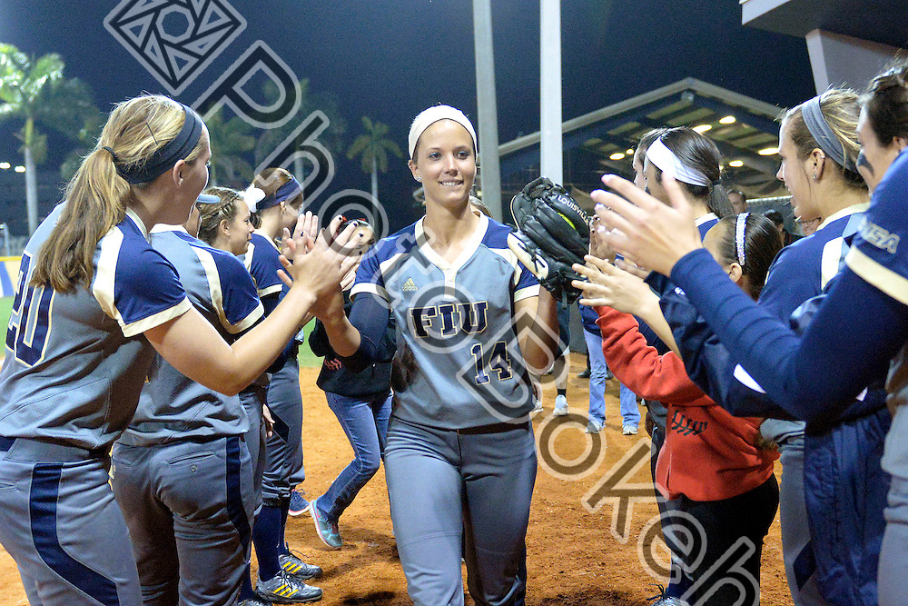 2015 February 13 - FIU's Corinne Jenkins (14). Florida International University defeated Memphis, 3-2, at the Felsberg Field at the FIU Softball Stadium, Miami, Florida. (Photo by: Alex J. Hernandez / photobokeh.com) This image is copyright by PhotoBokeh.com and may not be reproduced or retransmitted without express written consent of PhotoBokeh.com. ©2015 PhotoBokeh.com - All Rights Reserved