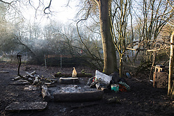 Harefield, UK. 21 January, 2020. A camp fire at the Save the Colne Valley wildlife protection camp. Activists seeking to protect ancient woodland threatened by the HS2 high-speed rail link continue to occupy both the roadside and woodland sites of the camp having retaken it from bailiffs acting on behalf of HS2 on 18th January. 108 ancient woodlands are set to be destroyed by HS2.