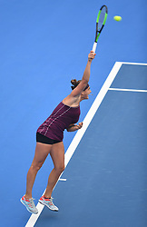 SHENZHEN, Jan. 5, 2019  Aryna Sabalenka of Belarus serves during the final match against Alison Riske of the United States at the WTA Shenzhen Open tennis tournament in Shenzhen, south China's Guangdong Province, Jan. 5, 2019. Aryana Sabalenka won 2-1 and claimed the title. (Credit Image: © Xinhua via ZUMA Wire)