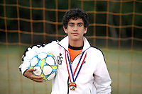 (CH)Gabriel Melar, player of the Sunrise Elite U14 soccer team, poses at Flamingo park on April 12, 2012. Staff photo/Cristobal Herrera