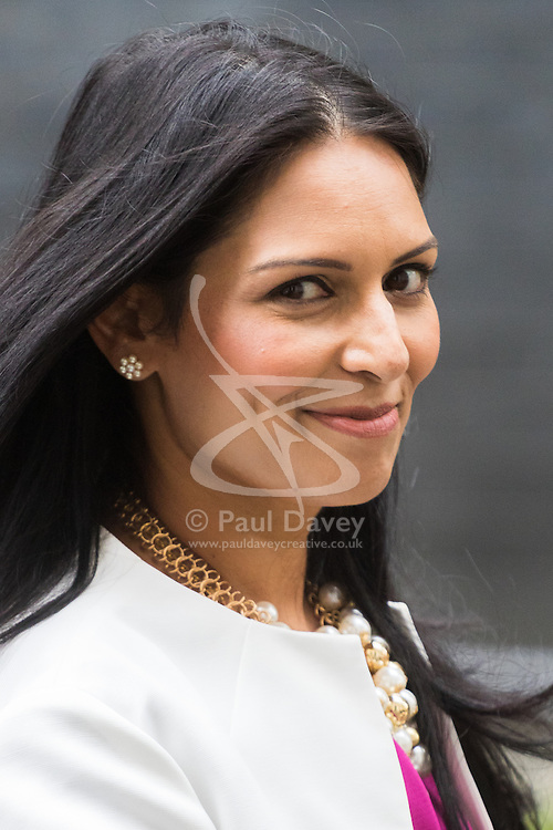 Downing Street, London, September 9th 2016.  International Development Secretary Priti Patel leaves 10 Downing Street following the weekly cabinet meeting.