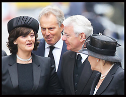 Former Prime Ministers Tony Blair and John Major and their wives  arriving for  Baroness Thatcher's  funeral at  St.Paul's Cathedral in London  Wednesday 17th  April 2013 Photo by: Stephen Lock / i-Images