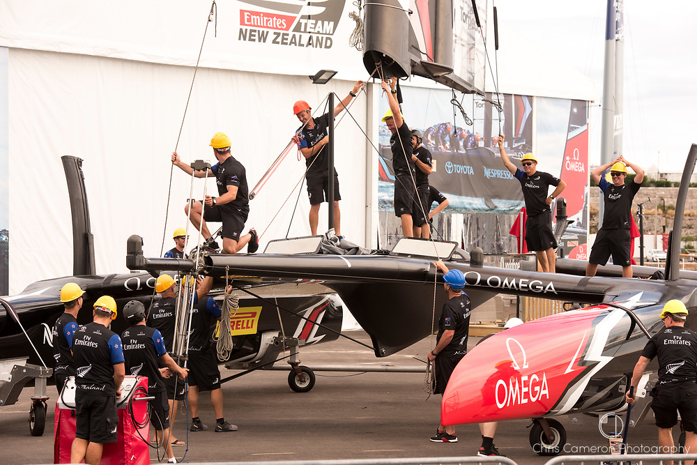 America's Cup Village, Bermuda. 12th June 2017. Emirates Team New Zealand prepare for the last day of racing of the Louis Vuitton America's Cup Challenger playoff finals against Artemis Racing (SWE). ETNZ start the day ahead 4 - 2, needing one win to become Challenger for the America's Cup.