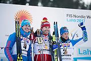 LAHTIS, FINLAND - 5 MARS: Sergey Ustiugov, Alex Harvey, Matti Heikkinen under herrarnas 50 km mass start under FIS Nordic World Ski Championships den 5 mars , 2017 i Lahti, Finland. <br /> Foto: Nils Petter Nilsson/Ombrello<br /> ***BETALBILD***