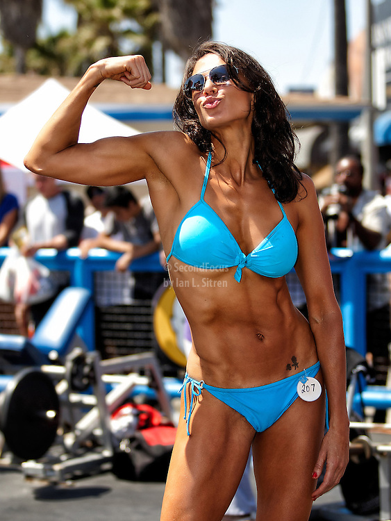 """Maria Yvonne Bertrand backstage in the """"pit"""" at world famouse Muscle Beach at Venice Beach on Memorial Day 2012."""