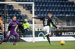 Falkirk's John Baird scoring their first goal. <br /> Falkirk 5 v 0 Alloa Athletic, Scottish Championship game played at The Falkirk Stadium. &copy; Ross Schofield