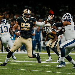 Aug 30, 2018; New Orleans, LA, USA; New Orleans Saints defensive end Marcus Davenport (92) works against Los Angeles Rams offensive tackle Darrell Williams (63) during the first half of a preseason game at the Mercedes-Benz Superdome. Mandatory Credit: Derick E. Hingle-USA TODAY Sports