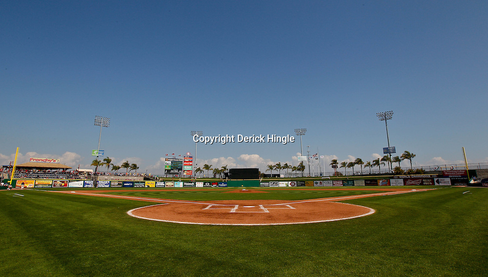 February 24, 2011; Clearwater, FL, USA; A general view of the field during a spring training exhibition game against the Florida State Seminoles at Bright House Networks Field. The Phillies defeated the Seminoles 8-0. Mandatory Credit: Derick E. Hingle