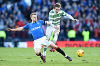 01/02/15 SCOTTISH LEAGUE CUP SEMI-FINAL<br /> CELTIC v RANGERS<br /> HAMPDEN - GLASGOW<br /> Rangers' Steven Smith (left) tackles Stefan Johansen