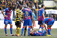 FC Basel midfielder Valentin Stocker is on the ground after being fouled by BSC Young Boys player Alberto Regazzoni (hidden) during the Super League (National League A) soccer match between BSC Young Boys (YB) and FC Basel (FCB) at the Stade de Suisse stadium in Bern, Switzerland, Sunday, Mai 16, 2010. FC Basel have won the Swiss football championship beating Young Boys of Bern 2-0 in the last match of the season. (Photo by Patrick B. Kraemer / MAGICPBK)
