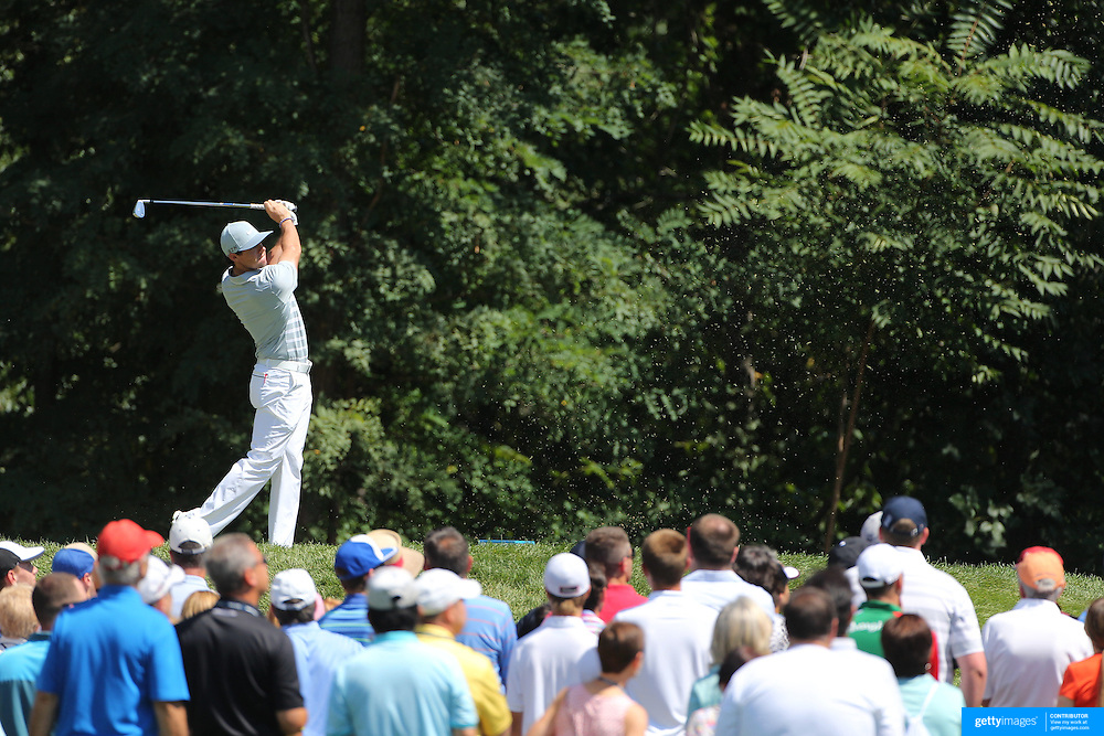 Rory McIlroy tees off from the second hole during the fourth round of theThe Barclays Golf Tournament at The Ridgewood Country Club, Paramus, New Jersey, USA. 24th August 2014. Photo Tim Clayton