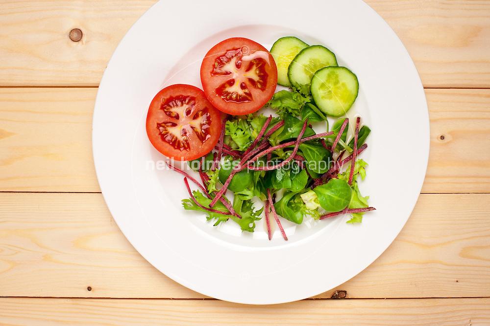 Diet Food, light salad with Greek olive oil