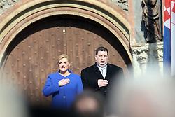 15.02.2015, Zagreb, CRO, Kolinda Gabar, Einweihungsfeier der neuen kroatischen Präsidentin Kolinda Grabar, im Bild Kolinda Grabar // during inauguration ceremony of new Croatian President Kolinda Grabar in Zagreb, Croatia on 2015/02/15. EXPA Pictures © 2015, PhotoCredit: EXPA/ Pixsell/ Davor Puklavec<br /> <br /> *****ATTENTION - for AUT, SLO, SUI, SWE, ITA, FRA only*****
