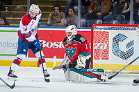 KELOWNA, CANADA - NOVEMBER 14: James Porter #1 of the Kelowna Rockets makes a save against the Edmonton Oil Kings on November 14, 2017 at Prospera Place in Kelowna, British Columbia, Canada.  (Photo by Marissa Baecker/Shoot the Breeze)  *** Local Caption ***