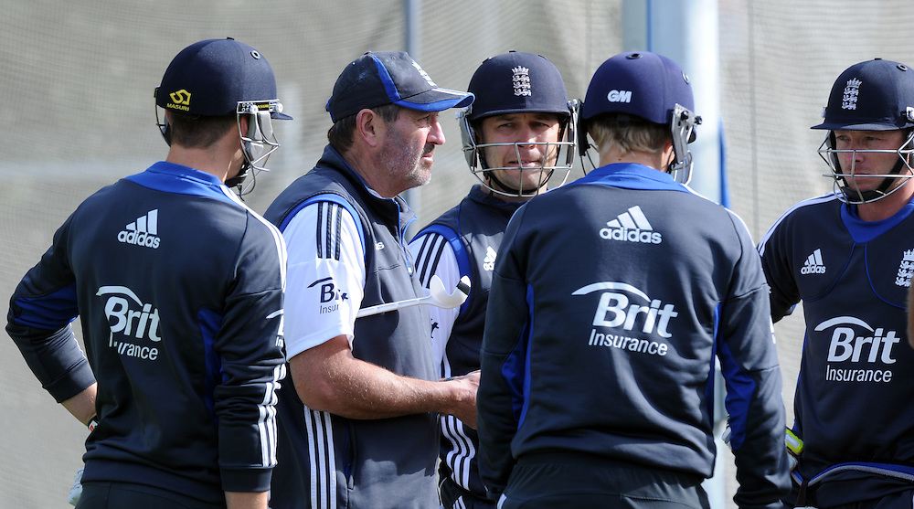 England batting coach Graham Gouch with the players in the nets at the teams training, University Oval prior to the first cricket test against New Zealand, Dunedin, New Zealand, Monday, March 04, 2013. Credit:SNPA / Ross Setford
