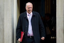 © Licensed to London News Pictures. 23/02/2016. London, UK.  Leader of the House of Commons CHRIS GRAYLING leaves number 10 Downing Street in Westminster, London after cabinet meeting. Photo credit: Ben Cawthra/LNP