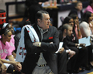 """Ole Miss vs. Georgia coach Andy Landers in women's basketball at the C.M. """"Tad"""" Smith Coliseum in Oxford, Miss. on Sunday, February 24, 2013. Georgia won 73-54."""