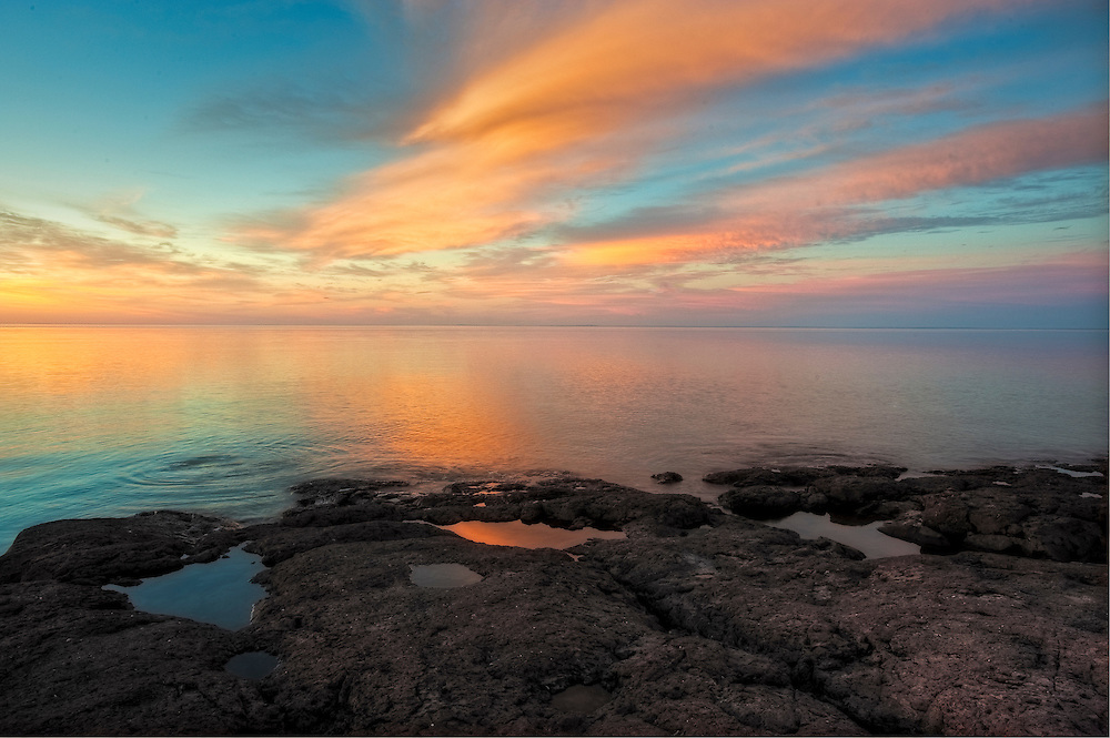 Sunrise on the Summer Solstice as seen from the North shore of Lake Superior at Gooseberry Falls State Park, Minnesota