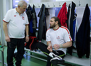 (R) Tomasz Majewski while his training session and his trainer coach (L) Henryk Olszewski at Sport's Academy (AWF) in Warsaw..Tomasz Majewski is a Polish shot putter and a double Olympic gold medalist..Poland, Warsaw, March 01, 2013..Picture also available in RAW (NEF) or TIFF format on special request...For editorial use only. Any commercial or promotional use requires permission...Photo by © Adam Nurkiewicz / Mediasport