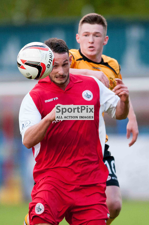 Phil Johnston and David Hopkirk challenge for the ball. Wednesday, 7th May 2014. (c) Wullie Marr | SportPix.org.uk
