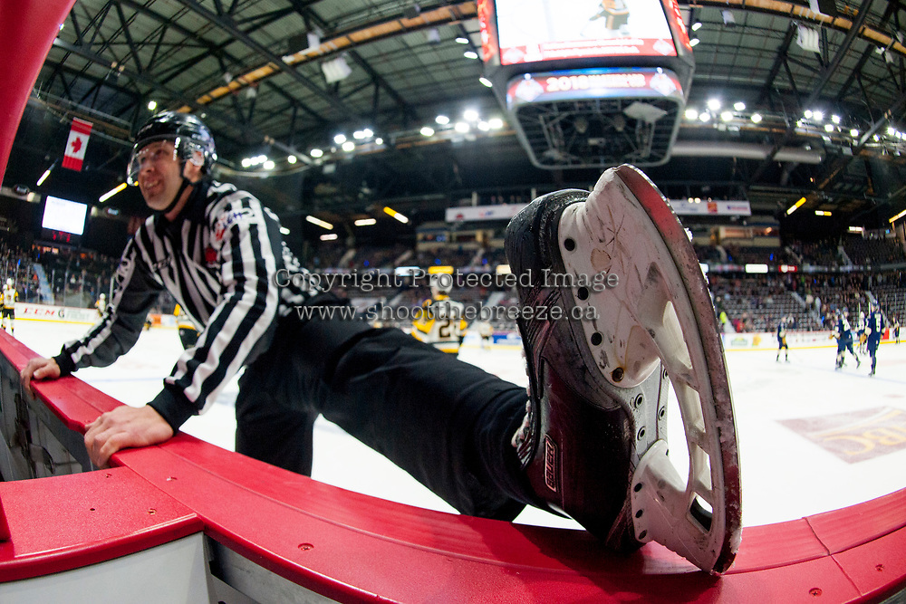 REGINA, SK - MAY 18: A linesman stretches during warm up at game 1 of the MasterCard Memorial Cup at the Brandt Centre on May 18, 2018 in Regina, Canada. (Photo by Marissa Baecker/Shoot the Breeze)