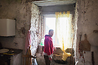 CETARA, ITALY - 10 March 2014: Gianpietro Pinto (37), a local coordinator of Genuino Clandestino, is here in the farmhouse of Antonio Polverino, a 64 years old peasant in Cetara, a village of fishermans in the Amalfi Coast, Italy, on March 10th 2014.<br /> Antonio Polverino was interviewed by Daniele De Michele, aka Donpasta, a DJ-economist with a passion for gastronomy.
