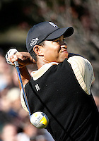 15 December 2007: Pro PGA golfer Tiger Woods swings his Nike club on the first tee box while he participates during the third round of the ninth annual Target World Challenge golf tournament presented by the Tiger Woods Foundation at Sherwood Country Club in Thousand Oaks Westlake Village in Southern California.