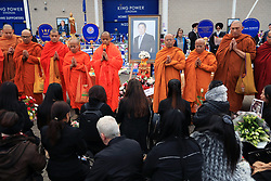 Buddhist Monks lead a service at Leicester City Football Club. PRESS ASSOCIATION Photo. Picture date: Tuesday October 30, 2018. Leicester Chairman, Vichai Srivaddhanaprabha, was among those to have tragically lost their lives on Saturday evening when a helicopter carrying him and four other people crashed outside King Power Stadium. See PA story SOCCER Leicester. Photo credit should read: Mike Egerton/PA Wire