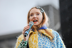 "© Licensed to London News Pictures. 26/02/2017. London, UK. Model Lily Cole on stage ahead of the special premiere free screening of the Oscar-nominated, Best Foreign Language Film, ""The Salesman"", in Trafalgar Square, hosted by Mayor of London, Sadiq Khan.  The film's Iranian director, Asghar Farhadi, decided to boycott tonight's main Oscars ceremony in Hollywood, in solidarity with those affected by President Donald Trump's travel ban on people from seven Muslim majority countries (including Iran) from entering the USA.   Photo credit : Stephen Chung/LNP"