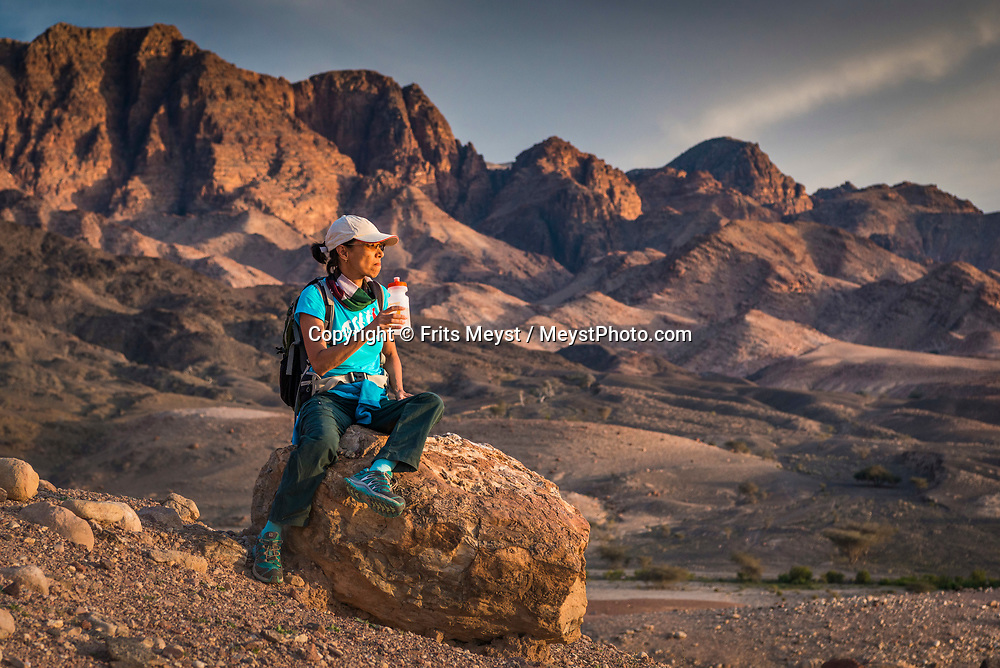Dana, Petra, Wadi Rum, Jordan, April 2019. Day one Dana Village to Feynan Eco Lodge. The crown jewel of the Jordan trail is the famed Dana to Petra Trek. It truly is a great hike with varying landscapes each day and finishes at the UNESCO World Heritage Site of Petra. The Jordan Trail is a walking trail crossing and connecting the length of the country of Jordan from Um Qais in the north to Aqaba and the Red Sea in the south. Offering 40 days of trekking acrossmore than 600 kilometers of trail, it traverses the diverse landscapes and vistas of the country. The Kingdom of Jordan is hosts one of the most accessible desert wildernesses of the Middle East, with a rich Bedouin culture. Photo by Frits Meyst / Meystphoto.com