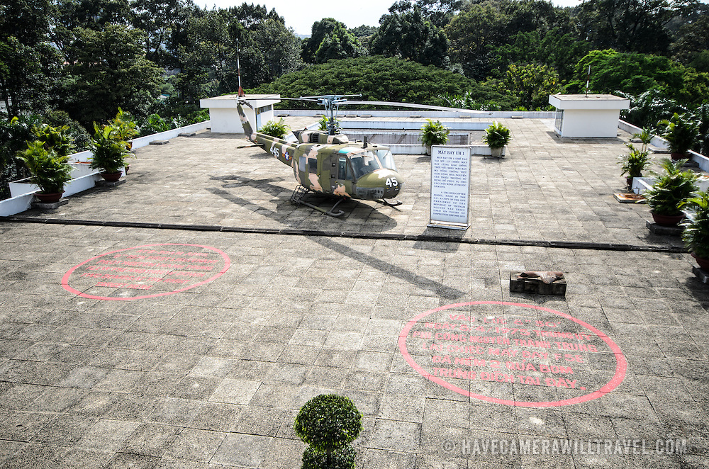 The helicopter landing pad on the roof of Reunification Palace in Ho Chi Minh City (Saigon), Vietnam.