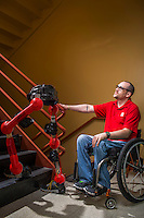Exoskeleton for paraplegics to allow them to walk, Friday, July 22, 2016 in Houston at the University of Houston's Department of Electrical & Computer Engineering, Laboratory for Noninvasive Brain-Machine Interface Systems.