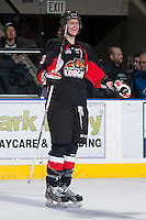 KELOWNA, CANADA -FEBRUARY 25: Marc McNulty #3 of the Prince George Cougars celebrates a goal against the Kelowna Rockets on February 25, 2014 at Prospera Place in Kelowna, British Columbia, Canada.   (Photo by Marissa Baecker/Getty Images)  *** Local Caption *** Marc McNulty;
