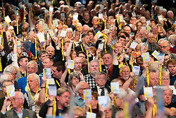 Edinburgh, Scotland, UK. 27 April, 2019. SNP ( Scottish National Party) Spring Conference takes place at the EICC ( Edinburgh International Conference Centre) in Edinburgh. Pictured; Delegates voting during a session on day 1.