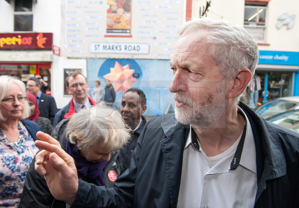 © Licensed to London News Pictures.01/04/2016. Bristol, UK. JEREMY CORBYN visits St Marks Road in Easton, Bristol, support Labour's candidate Marvin Rees in the Bristol Mayoral Election, and Labour candidates in the local elections.  Photo credit : Simon Chapman/LNP