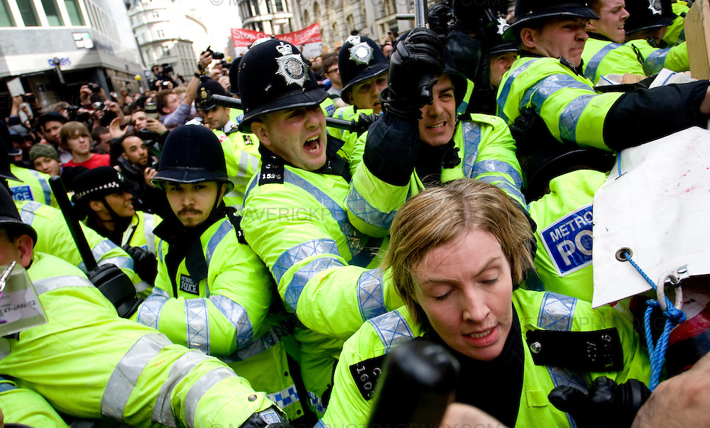 Protesters clash with Police in London City outside the Bank of England ahead of the G20 meeting....