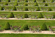 Weingut Schloss Wackerbarth, Garten mit Tischen und Stuehlen, Radebeul bei Dresden, Sachsen, Deutschland.|.Castle Wackerbarth, vinery, garden with tables and chairs, Radebeul near Dresden, Germany