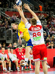 Albin Lagergren of Sweden vs Espen Lie Hansen of Norway  during handball match between National teams of Sweden and Norway on Day 7 in Main Round of Men's EHF EURO 2018, on January 24, 2018 in Arena Zagreb, Zagreb, Croatia.  Photo by Vid Ponikvar / Sportida