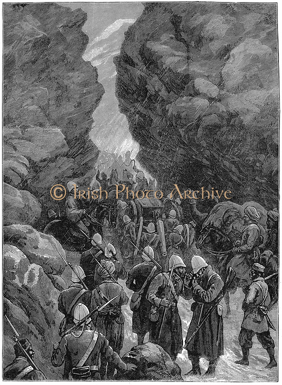 Second Anglo-Afghan War (1878-1880): A block in the Jugdulluk Pass: British troops having difficulties on their way to reinforce General Roberts at Cabul (Kabul). December 1879. Wood engraving, January 1880