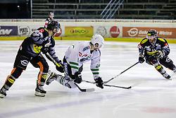 12.12.2016, Messestadion, Dornbirn, AUT, EBEL, Dornbirner Eishockey Club vs HDD Olimpija Ljubljana, 30. Runde, im Bild v. l. Brock McBride, (Dornbirner Eishockey Club, #86), Raphael Bussieres, (HDD Olimpija Ljubljana, #64) und Nicolas Petrik, (Dornbirner Eishockey Club, #12) // during the Erste Bank Icehockey League 30th round match between Dornbirner Eishockey Club and HDD Olimpija Ljubljana at the Messestadion in Dornbirn, Austria on 2016/12/12, EXPA Pictures © 2016, PhotoCredit: EXPA/ Peter Rinderer