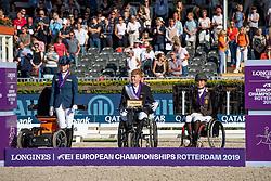 Podium Individual Grade III, Thorning Joergensen Tobias, DEN, Van der Horst Rixt, NED, Minnici Barbara, BEL<br /> European Championship Para Dressage<br /> Rotterdam 2019<br /> © Hippo Foto - Dirk Caremans
