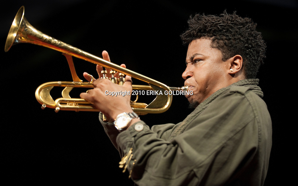 Christian Scott performs at the New Orleans Jazz &amp; Heritage FEstival on May 1, 2010, in New Orleans, LA. <br />