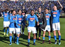 BERGAMO, JAN. 22, 2018  Napoli's players celebrate after winning a Serie A soccer match between Atalanta and Napoli in Bergamo, Italy, Jan. 21, 2018. Napoli won 1-0. (Credit Image: © Alberto Lingria/Xinhua via ZUMA Wire)