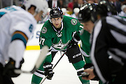DALLAS, TX - OCTOBER 17:  Rich Peverley #17 of the Dallas Stars looks on before a face-off against the San Jose Sharks on October 17, 2013 at the American Airlines Center in Dallas, Texas.  (Photo by Cooper Neill/Getty Images) *** Local Caption *** Rich Peverley