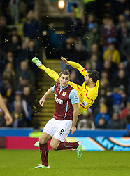 BURNLEY, ENGLAND - Boxing Day, Friday, December 26, 2014: Burnley's Sam Vokes in action against Liverpool during the Premier League match at Turf Moor. (Pic by David Rawcliffe/Propaganda)