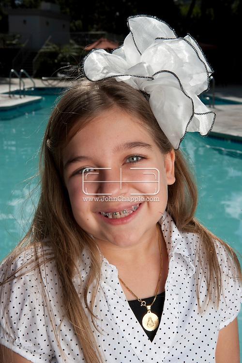 February 12th, 2012, Los Angeles, California. Budding comic actress Julia Cuomo, aged nine from Hollywood, Florida. PHOTO © JOHN CHAPPLE / www.johnchapple.com.