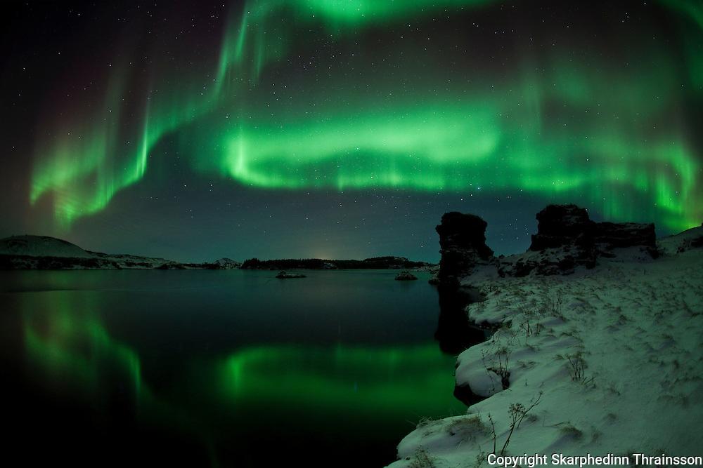 Aurora borealis over lake Myvatn, north Iceland