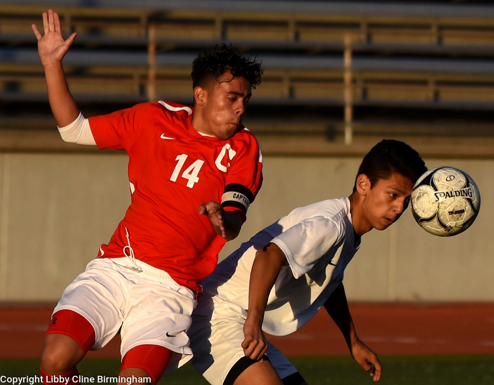 Glendora's Matthew Abangan (9) heads the ball in the first half of a first round CIF soccer prep soccer match against Colony at Citrus College in Glendora, Calif., on Friday, Feb. 16, 2018. (Photo by Libby Cline Birmingham)